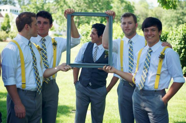Perfect Day Wedding Planners Groomsmen Gray Ties and Yellow Suspenders