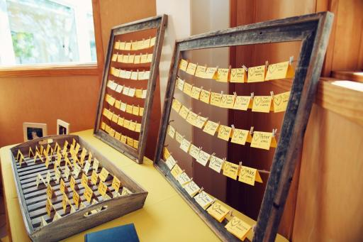 Perfect Day Wedding Planners Yellow Place Cards and Old Picture Frame Display