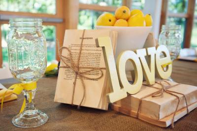 Perfect Day Wedding Planners, vintage books, reception centerpieces, lemons