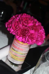 Floral Centerpiece with glow sticks in vase