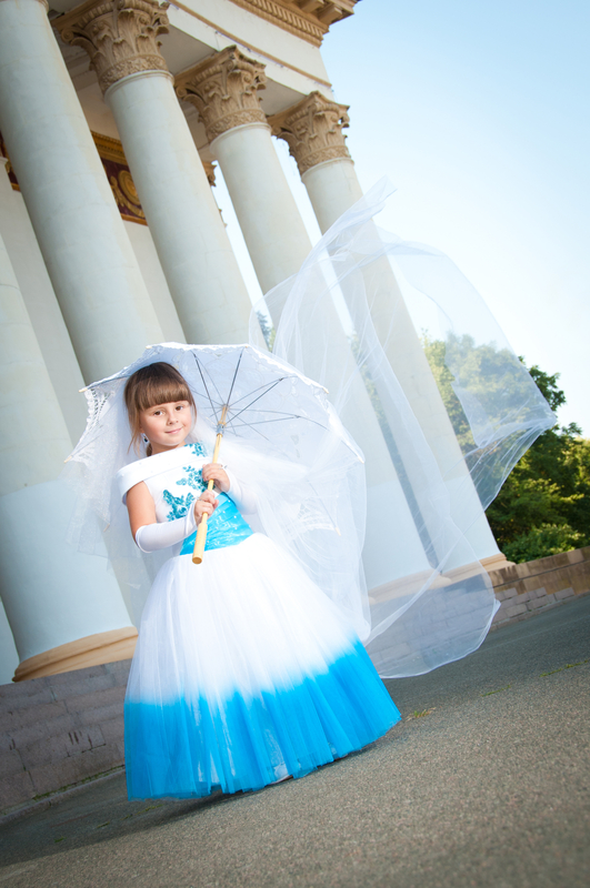 Flower Girl blue and white dress