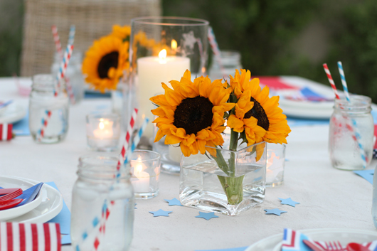 Perfect Day Wedding Planners 4th of July wedding closeup table of wedding