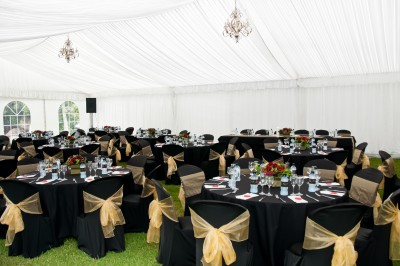 Perfect Day Wedding Planners wedding tent lighting and tables