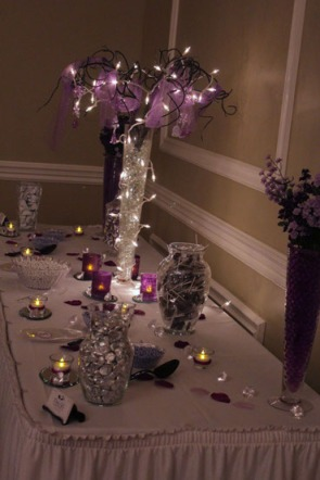 Perfect Day Wedding Planners Purple and Silver Candy Buffet and Sweets Table