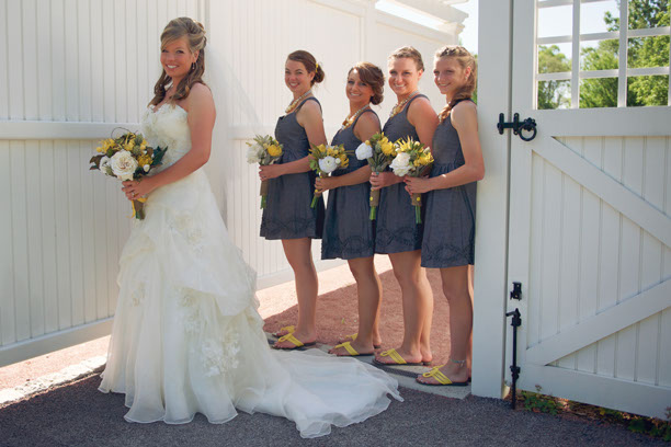 Perfect Day Wedding Planners Gray and Yellow Bridesmaid Dresses
