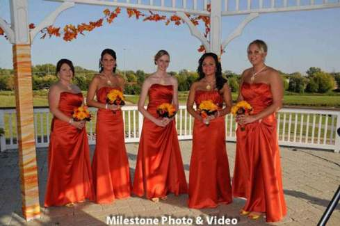 Perfect Day Wedding Planners Orange Bridesmaid Dresses